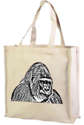 Gorilla, monocromatico, cotone shopping bag crema