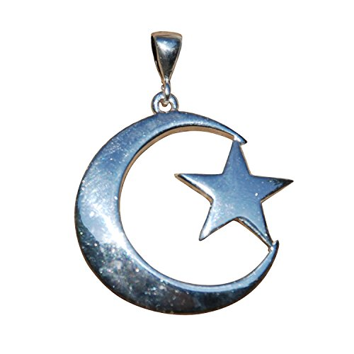 Unique Medium-size Sterling Silver Islamic Symbol Crescent Moon & Star Pendant - Handmade