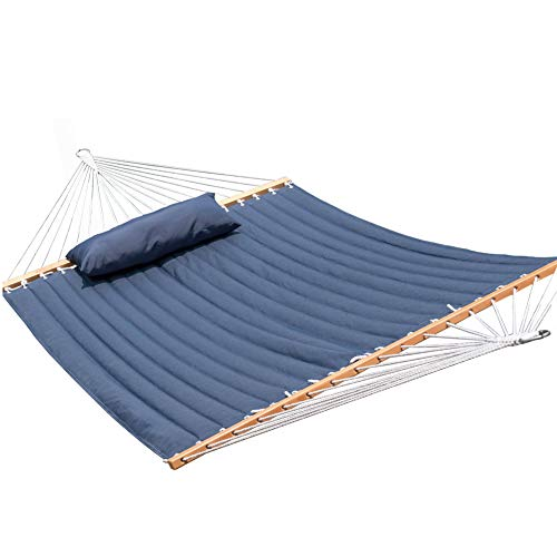 Lazy Daze Hammocks Quilted Fabric Hammock with Pillow for Two Person Double Size Spreader Bar Heavy Duty Stylish, Navy Blue Review