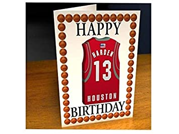 Tarjetas de cumpleaños con diseño de camiseta de baloncesto de la NBA (personalizable), color Houston Rockets NBA Basketball Greeting Card: Amazon.es: ...