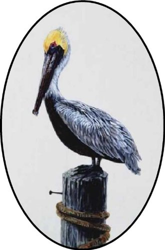 Pelican Bird Standing on a Pier Log - Etched Vinyl Stained Glass Film, Static Cling Window Decal
