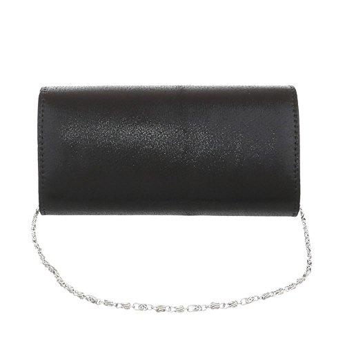 iTal-dEsiGn Damentasche Kleine Abendtasche Clutch Handtasche Synthetik TA-31002 Schwarz