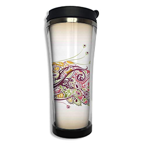 Customizable Travel Photo Mug with Lid - 14.2OZ(420 ml) Stainless Steel Travel Tumbler, Makes a Great Gift by,Peacock,Abstract Bird with Colorful Floral Artistic Feather Design,Dried Rose Earth ()