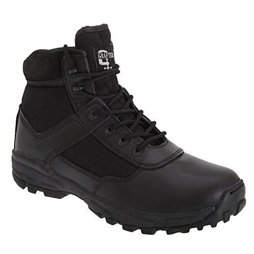 Grafters - Botas de combate ligeras no metálicas modelo Cover para hombre Negro