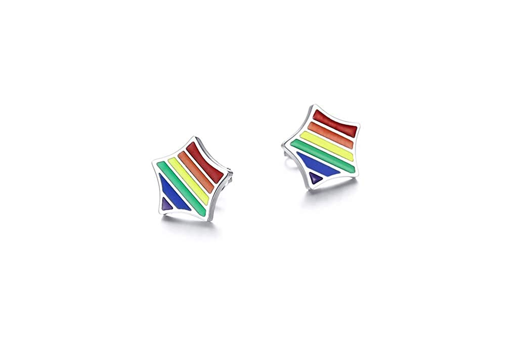 UMtrade Rainbow Stud Earrings Gay Lesbian LGBT Pride Stainless Steel Ear Ring