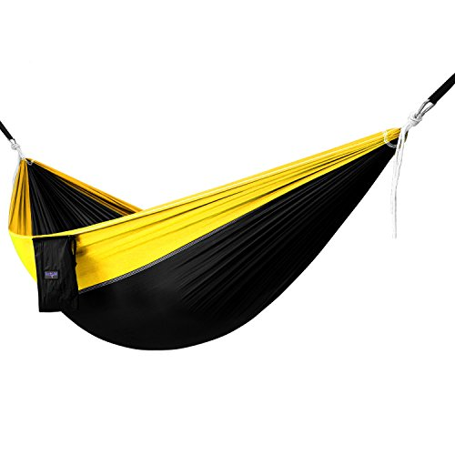 Yes4All Single Lightweight Camping Hammock with Strap & Carry Bag – Nylon Parachute Hammock / Lightweight Portable Hammock for Camping, Hiking (Black/Yellow) by Yes4All