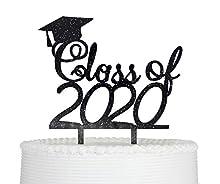 Class of 2020 Cake Topper Graduation Grad Party Decorations (Black Giltter)