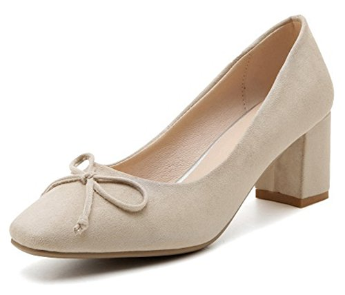 Aisun Womens Trendy Square Toe Chunky Mid Heel Low Cut Dressy Slip On Pumps Shoes With Bow Beige 2kDmR