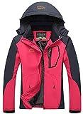 YXP Women's Mountain Waterproof Ski Jacket Windproof Rain Jacket(Rose Red,M)