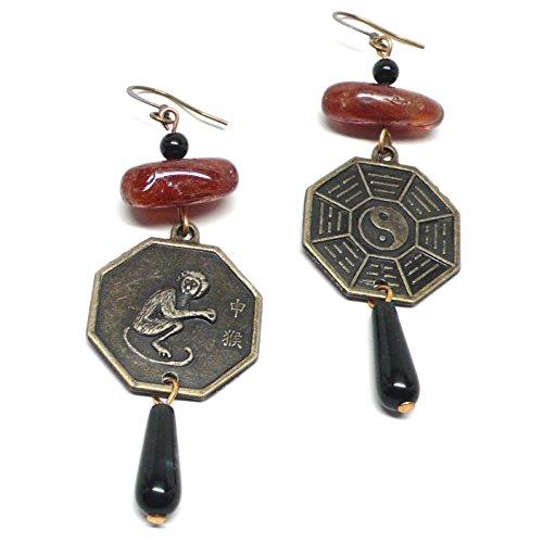 (Year of the Monkey I Ching Zodiac Chinese Bagua Trigram Coin Garnet Earrings )
