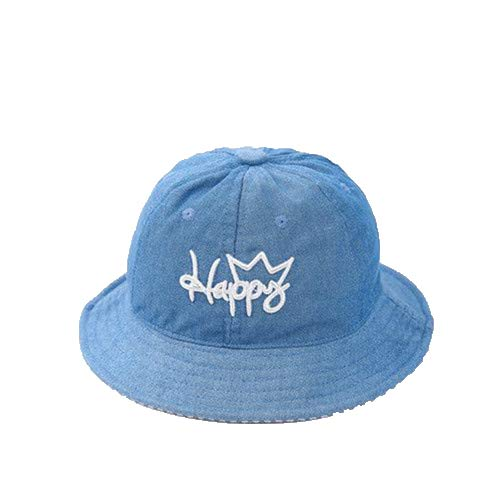 Summer Embroidered Corduroy Hat Cotton Baby Hat Cap Kid Caps Sun Bucket Hats Double Sided Can Wear Light Blue