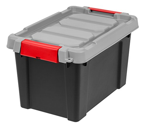 IRIS 5 Gallon Store-it-All Heavy Duty Stackable Utility Tote, Black with Red Buckle by IRIS USA, Inc.