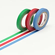 mt Slim Washi Paper Masking Tape [genuine MT Kamoi Kakoshi / produced in Japan]: 0.24 in. x 33 ft. / Basic H (Blue/Red/Green) [3 Rolls/Pack]