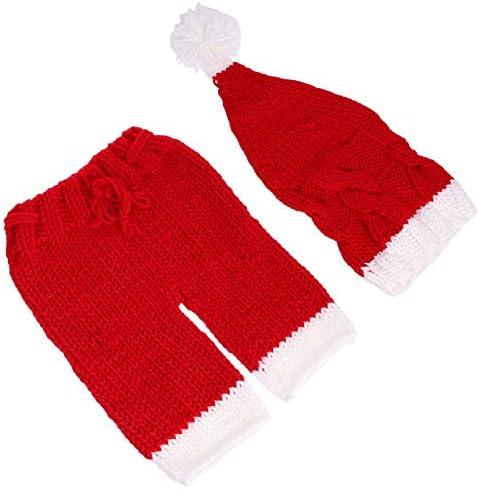 TOYANDONA Pasgeboren Baby Kerst Kerstman Gebreide Outfit Haak Fotografie Prop Kostuum