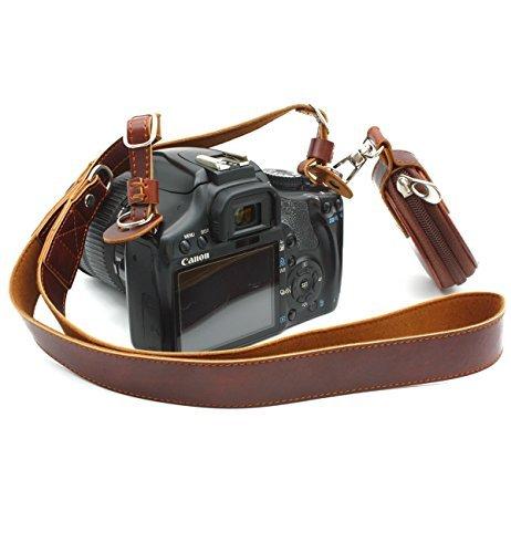 CEARI Premium Camera Leather Shoulder Neck Strap Belt + Storage Case Carrying Bag for Canon Nikon Pentax Olympus Sigma Sony Fujifilm Casio Panasonic DSLR Camera + MicroFiber Clean Cloth - Coffee