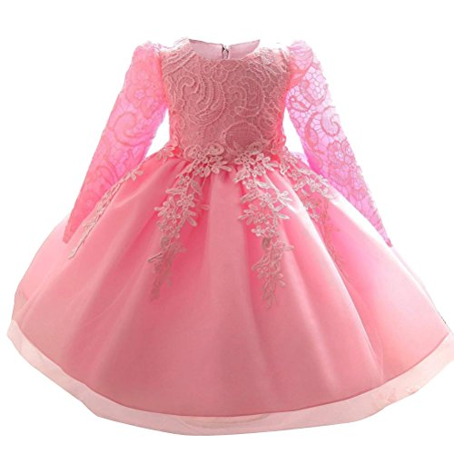 Mallimoda Girl's Lace Tulle Flower Princess Wedding Dress for Toddler and Baby Girl Long Sleeve Pink 3Y