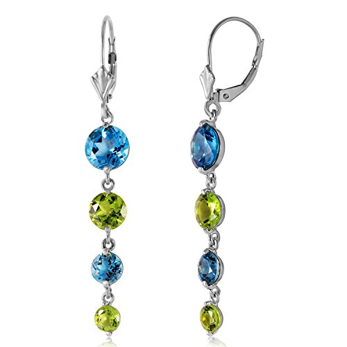 Blues Solid 14k Gold Note (7.8 Carat 14K Solid White Gold Delightful Notes Blue Topaz Peridot Earrings)