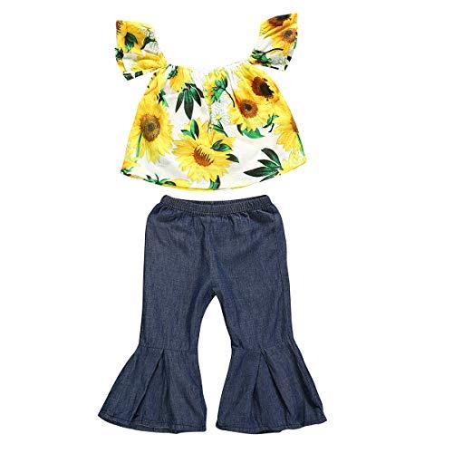 Toddler Kids Girls Ruffle Fly Sleeve Sunflower Tank Tops+Denim Bell-Bottom Wide Leg Pants Outfit Summer Clothes Two Piece Set (Denim Bell-Bottom, 1-2 Years)