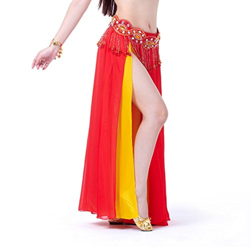 Jlong Women Belly Dance Costume Chiffon Double Color 2-Layers Side Slit Skirt (Dark Dance Costumes)