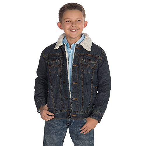 (Wrangler Apparel Boys Boys Rustic Blue Sherpa Lined Jacket S Denim)