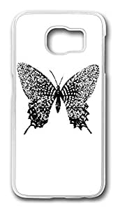 Brian114 Case, S6 Case, Samsung Galaxy S6 Case Cover, Black Butterfly Retro Protective Hard PC Back Case for S6 ( white )