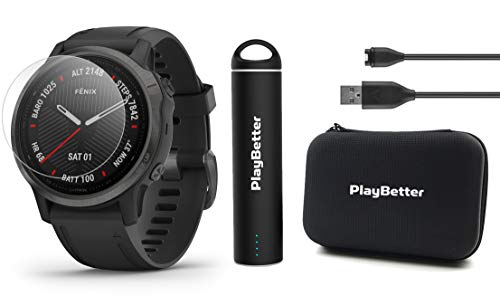 Garmin Fenix 6S Sapphire (Gray with Black Band) Power Bundle with HD Screen Protectors, PlayBetter Portable Charger & Protective Hard Case | 2019 | PulseOx, ClimbPro, Maps, PacePro, Spotify, Music