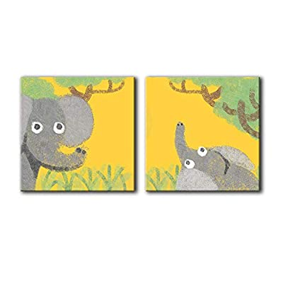 it is good, Alluring Artisanship, Square of Elephant Mom and Baby Children Art x 2 Panels