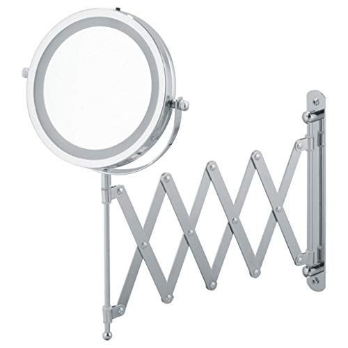 WUDHAO Wall-Mounted Vanity Mirrors LED Fill Light 7 Inch Makeup Mirror Wall Mounted Telescopic Double-Sided Bathroom Hotel Folding 5X Magnifying Mirror (Color : Silver, Size : 7 inches ()