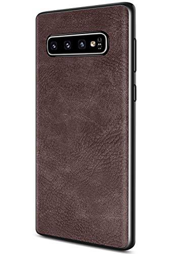 Samsung Galaxy S10 Plus Case, Salawat Slim PU Leather Vintage Shockproof Phone Case Cover Lightweight Premium Soft TPU Bumper Hard PC Hybrid Protective Case for Samsung Galaxy S10 Plus (Dark Brown)