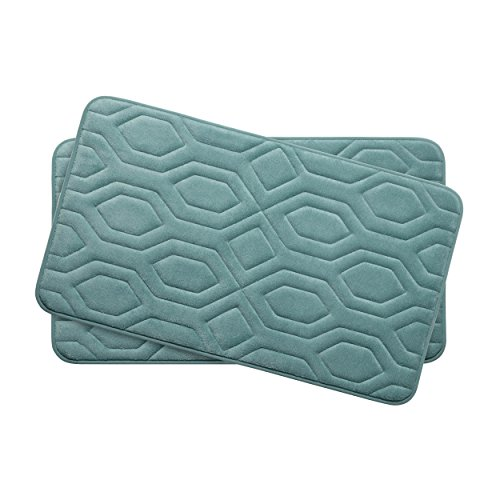 Bounce Comfort Extra Thick Memory Foam Bath Mat Set - Turtle Shell Premium Plush 2 Piece Set with BounceComfort Technology, 17 x 24 in. Marine Blue -  Creative Home Ideas, YMB003749
