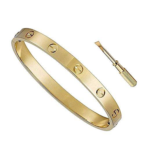 BESTJEW Womens Love Bracelet Stainless Steel Cuff Bangle Bracelet with Screwdriver 7.5Inch Gold by BESTJEW
