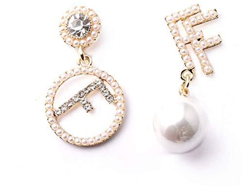 P.phoebus 18K Yellow Gold Plated Earrings Vintage White Pearl Swarovski Crystal Studs Rhinestones Dangle Charms Hoops for Women Girls (5)