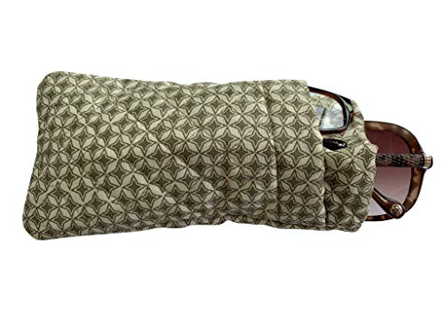 Double Eyeglass Case, Quilted Cotton Soft and Slim, by Buti-Eyes (olive khaki stars)