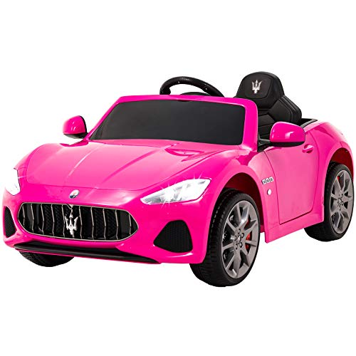 (Uenjoy Maserati GranCabrio 12V Electric Kids Ride On Cars Motorized Vehicles for Girls with Remote Control, Wheels Suspension, MP3 Player, Light, Pink)