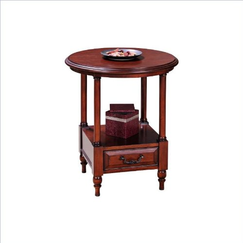 Leick Furniture Claridge Collection Cherry Round Side Table, Burnished Russet