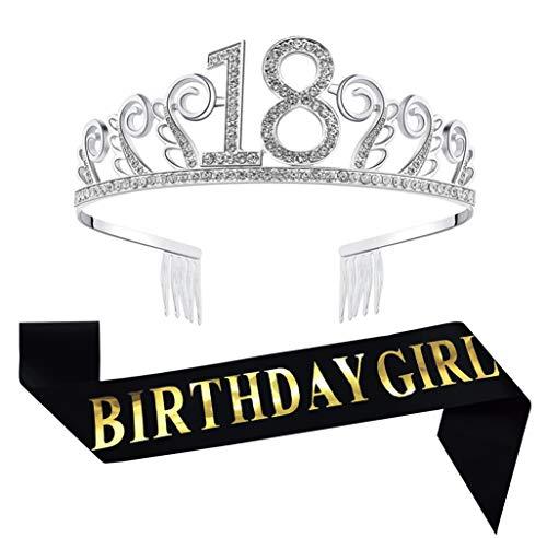 18th Birthday Decorations Party Supplies Birthday Tiara and Sash Black Glitter Satin Sash and Crystal Tiara Birthday Crown for 18th Birthday Party Birthday Cake Topper]()