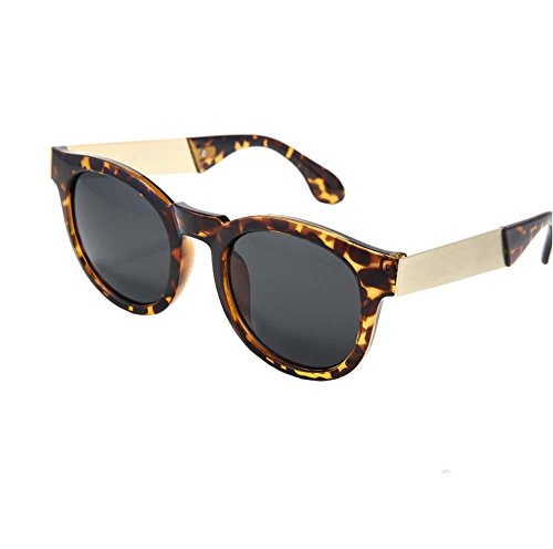 Female drivers driving sunglasses glasses big box myopia retro round sunglasses tide Men (Leopard - Sunglasses Big Versace