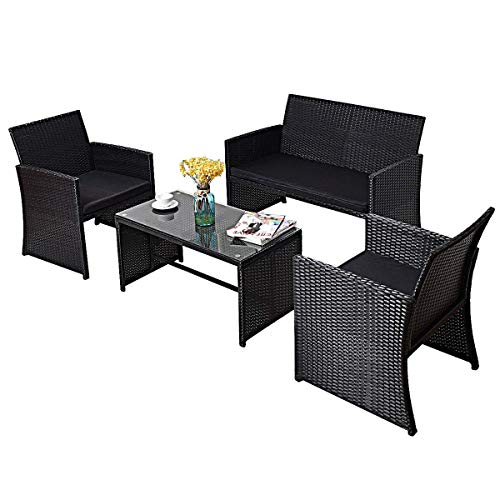TANGKULA 4PCS Patio Furniture Set with Coffee Table, Chairs, Cushions & Loveseat for Garden Balcony Backyard Chat Set Durable Handwoven Rattan Wicker Outdoor Patio Conversation Set, Black