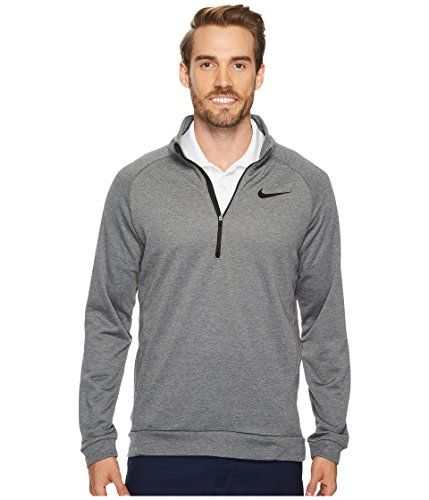 NIKE Mens Dry Quarter Zip Fleece Shirt Charcoal Heather/Black 860477-071 Size 2X-Large