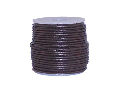 2mm Dark Brown Leather Necklace (cords craft Round Leather Cord for Round Bracelet, Necklaces Plain Genuine Leather Cord 1.0MM 34 Dark Brown)