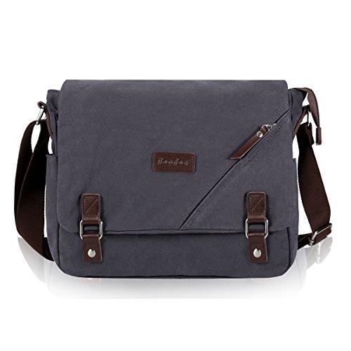 ibagbar Canvas Messenger Bag Shoulder Bag Laptop Bag Computer Bag Satchel Bag Bookbag School Bag Working Bag for Men and Women (Dark Gray Large)