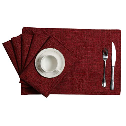U'Artlines Placemats Set of 6 Slubbed Linen Heat Resistant Non-Slip Dining Table Place Mats for Kitchen Table (Placemats 13×18, Wine red)