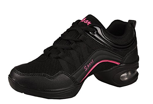 VECJUNIA Ladies Lace-Up Adults Sneakers Breathable Jazz Mesh Dance Shoes Black Red 3BqwGanz