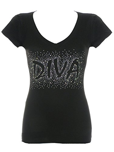 Women's Diva Scattered Rhinestone Bling V-Neck T-Shirts Black 1X