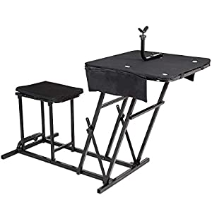 Goplus Portable Shooting Table Bench Seat Adjustable Gun Rest Ammo Pockets