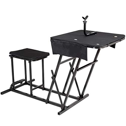 Collapsible Target Stand - Goplus Portable Shooting Table Bench Seat with Adjustable Gun Rest and Ammo Pockets