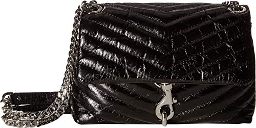 Rebecca Minkoff Women's Edie Quilted Crossbody Bag, Black, One Size (Non Leather Bags Crossbody)