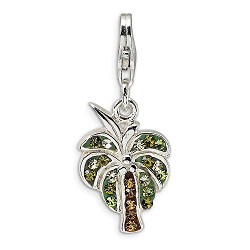 Mia Diamonds 925 Sterling Silver with Rhodium-Plated Polished Swarovski Crystals Palm Tree with Lobster Clasp - Crystals Palm Swarovski Tree