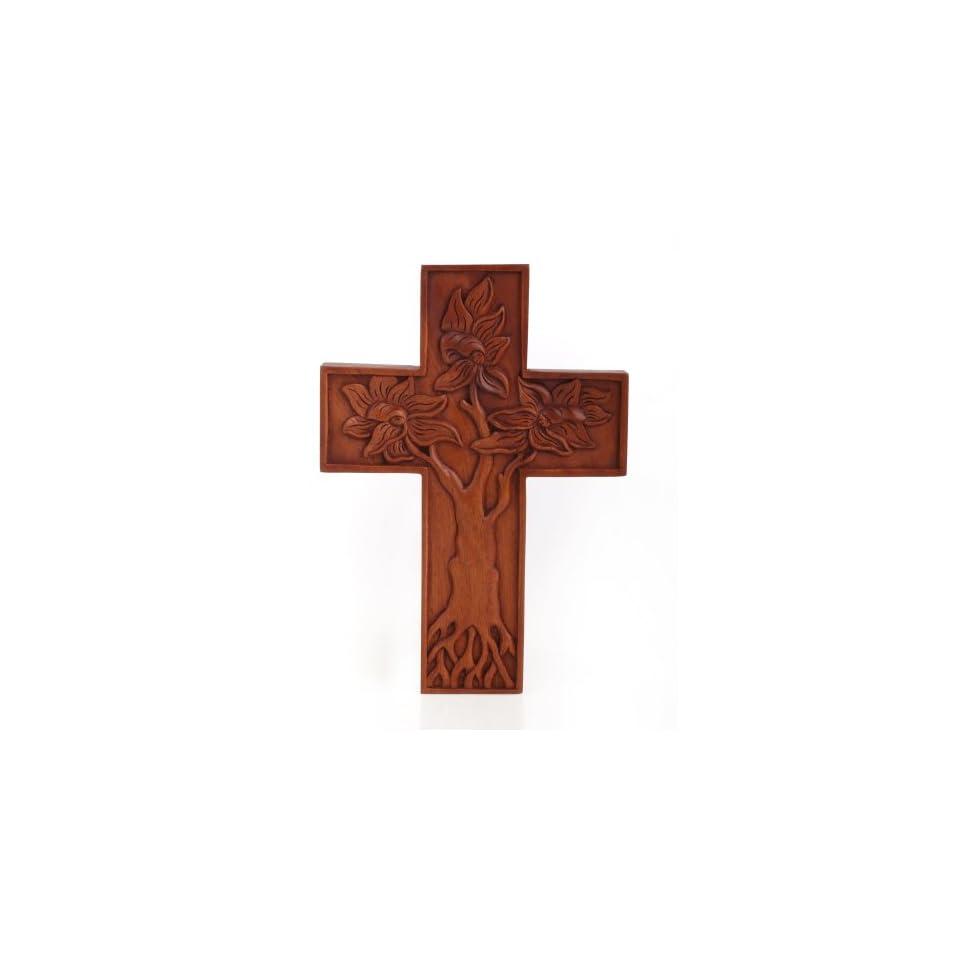 Patra Mangrove Cross Carving~Wall Decor~Religious Art