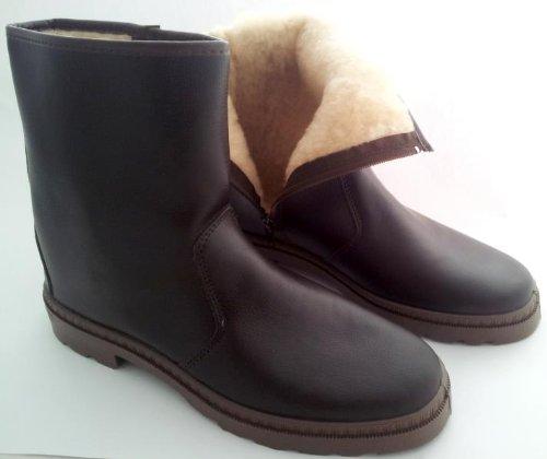Ross & Cole Herren Stiefel mit warmem Futter in Lammfell Optik in Schwarz, Winterstiefel, Leder Boots, Stiefeletten mit Thermo Fütterung, Gr. 40 46